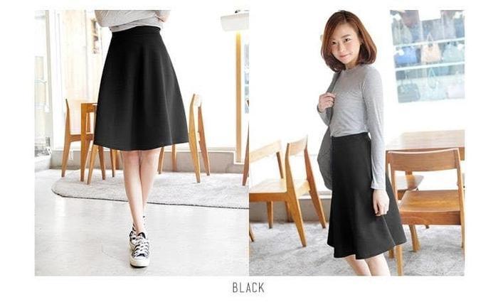Detail Gambar Midi Flare Skirt /Fashion Wanita / Rok Cewek / Rok Bahan Pendek - Hitam Terbaru