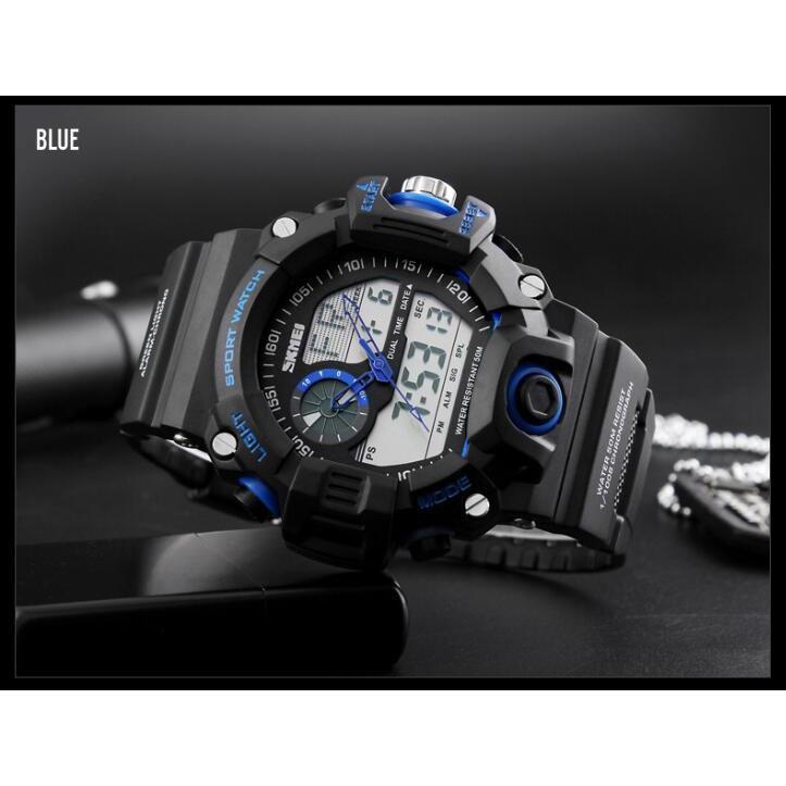 Detail Gambar SKMEI Dual Time Men Sport LED Watch Anti Air Water Resistant WR 50m AD1029 Jam Tangan Pria Tali Strap Karet Digital Alarm Wristwatch Wrist ...