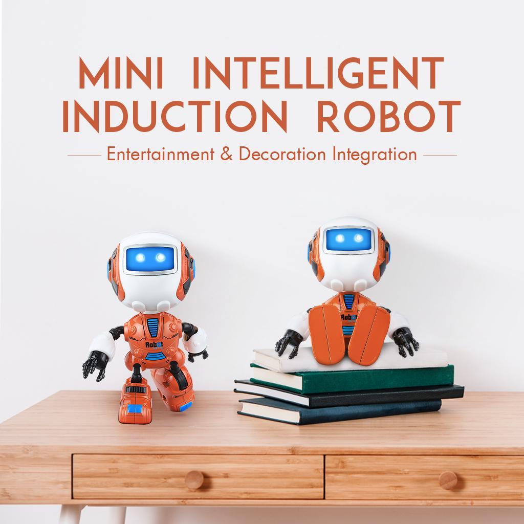 Hbqcwj Quartly Cerdas Induksi Robot sentuh Penginderaan Mainan Robot Multi-Fungsi Lampu Musik Mini Alloy