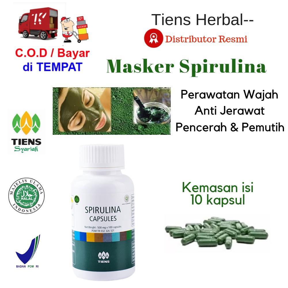 Masker Wajah Pemutih & Pencerah Kulit / Spirulina Tiens 10 Kapsul + GRATIS Member Card TH