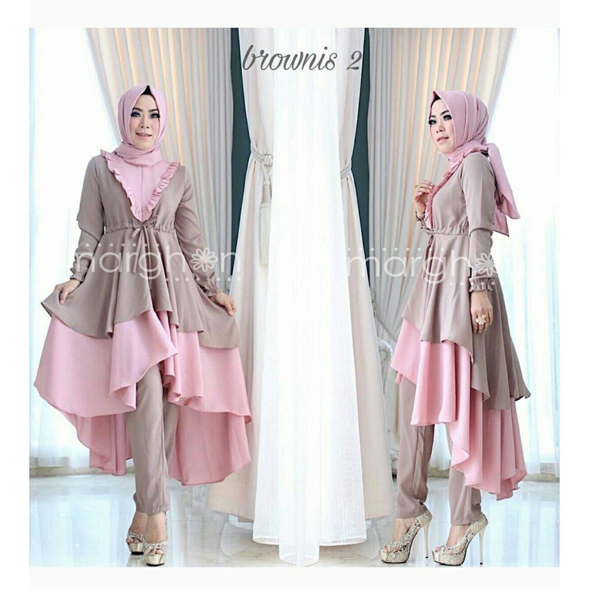 trendshopee Setelan Muslim Wanita Tunik Dan Celana Panjang Brownies