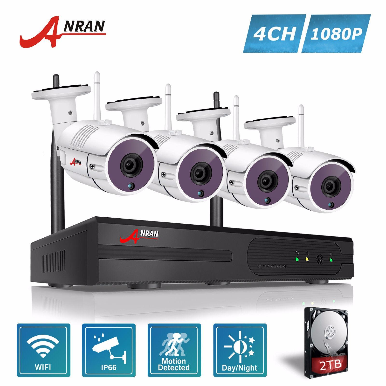 Harga Anran 4Ch Wireless Nvr Cctv Kit P2P 1080P Hd Outdoor Wifi Mini Ip Camera 36Ir Security Surveillance System Anran Tiongkok