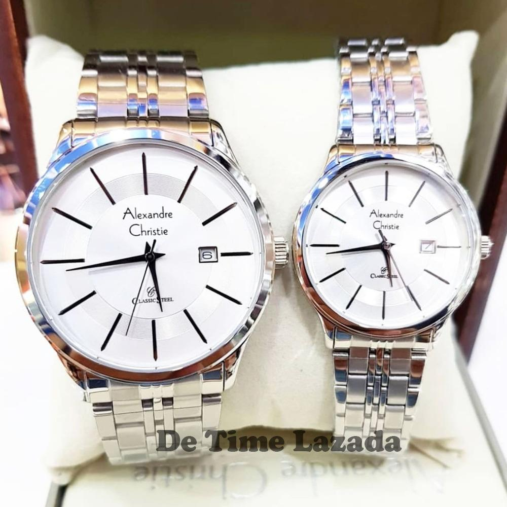 Alexandre Christie AC8348 Original Jam Tangan Couple Stainless Steel Full Silver