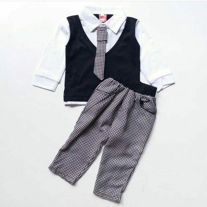 setelan anak cowok panjang tuxedo rompi anak - baju pesta anak balita 1 2 tahun -