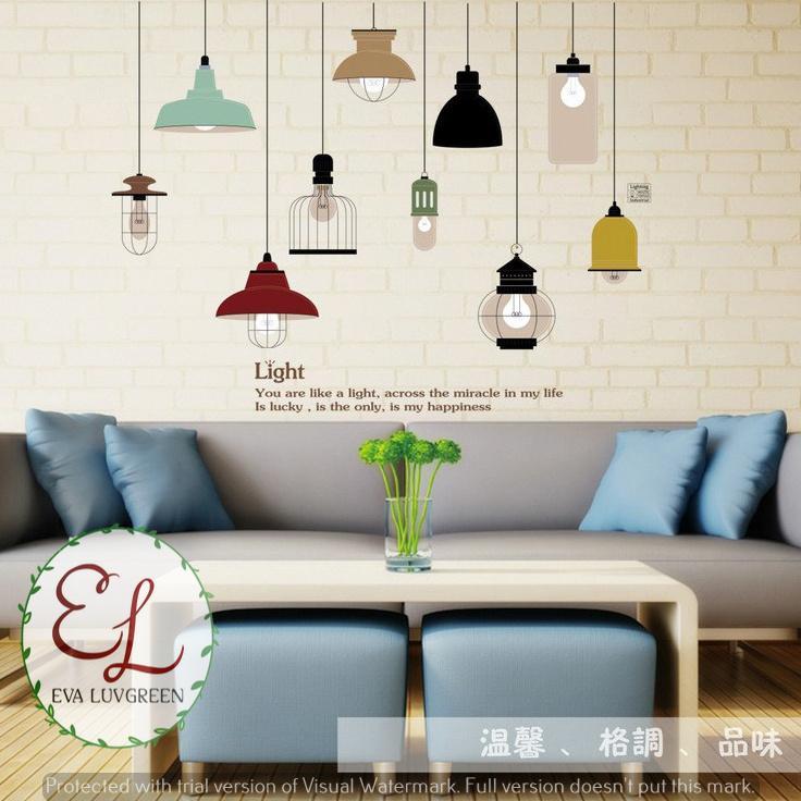 Detail Gambar Eva Luvgreen Wallsticker Lampu Gantung Light Ukuran 60x90cm/ Stiker Dinding/ Stiker Tembok/ Wallpaper Sticker/ Wall Paper Sticker/ Wall ...