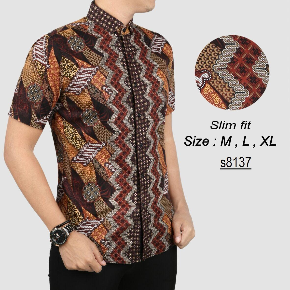 Kemeja Batik Pria Sutra: Cek Harga Baru Batik Pria Modern Kemeja Pria Slim Fit 9305