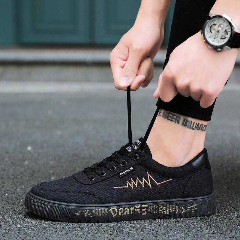 2018 musim gugur Pria bernapas Sepatu kanvas Gaya Korea hitam sepatu sneaker Tren sepatu pria sepatu
