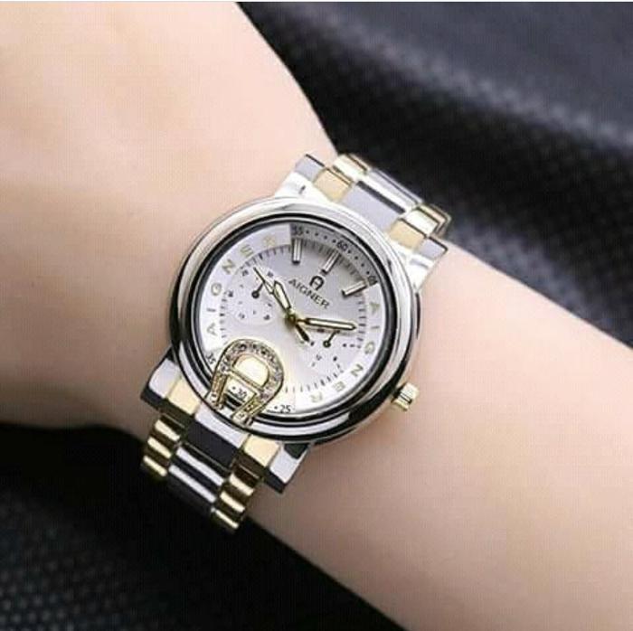 jam tangan wanita aigner rantai termurah / jtr 916 kombinasi gold