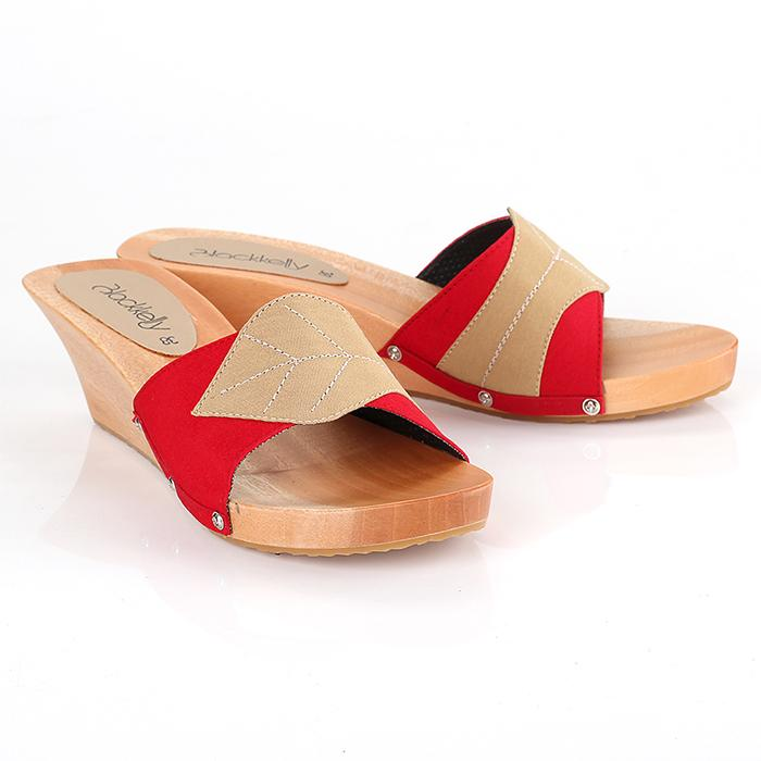 Blackkelly LYT 282 Sandal wedges wanita - bahan Pu-pvc - sol kelom kayu &ndash