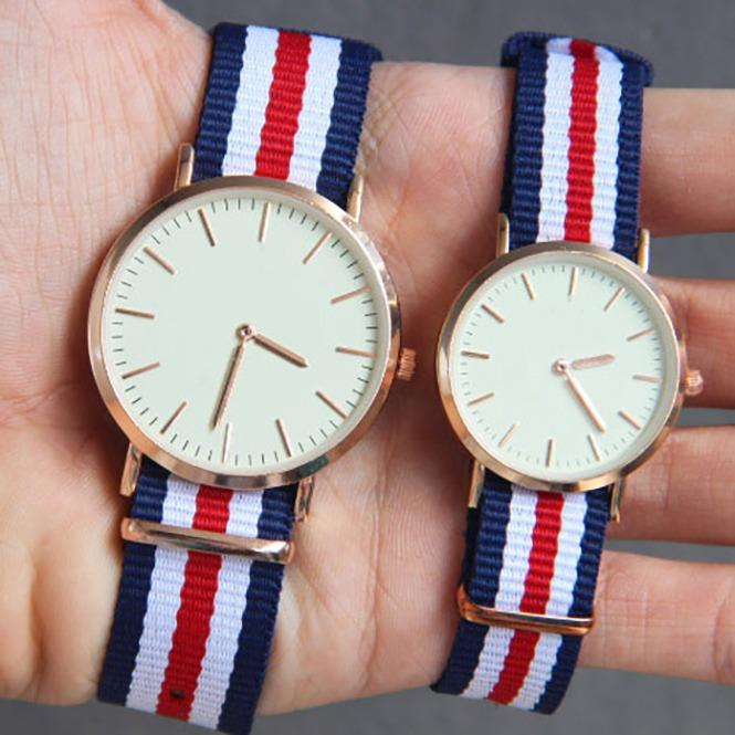 Jam Tangan Tali Kanvas Couple Watch Accessories Stylish Trendy - Navy Blue Strip Putih Strip Merah