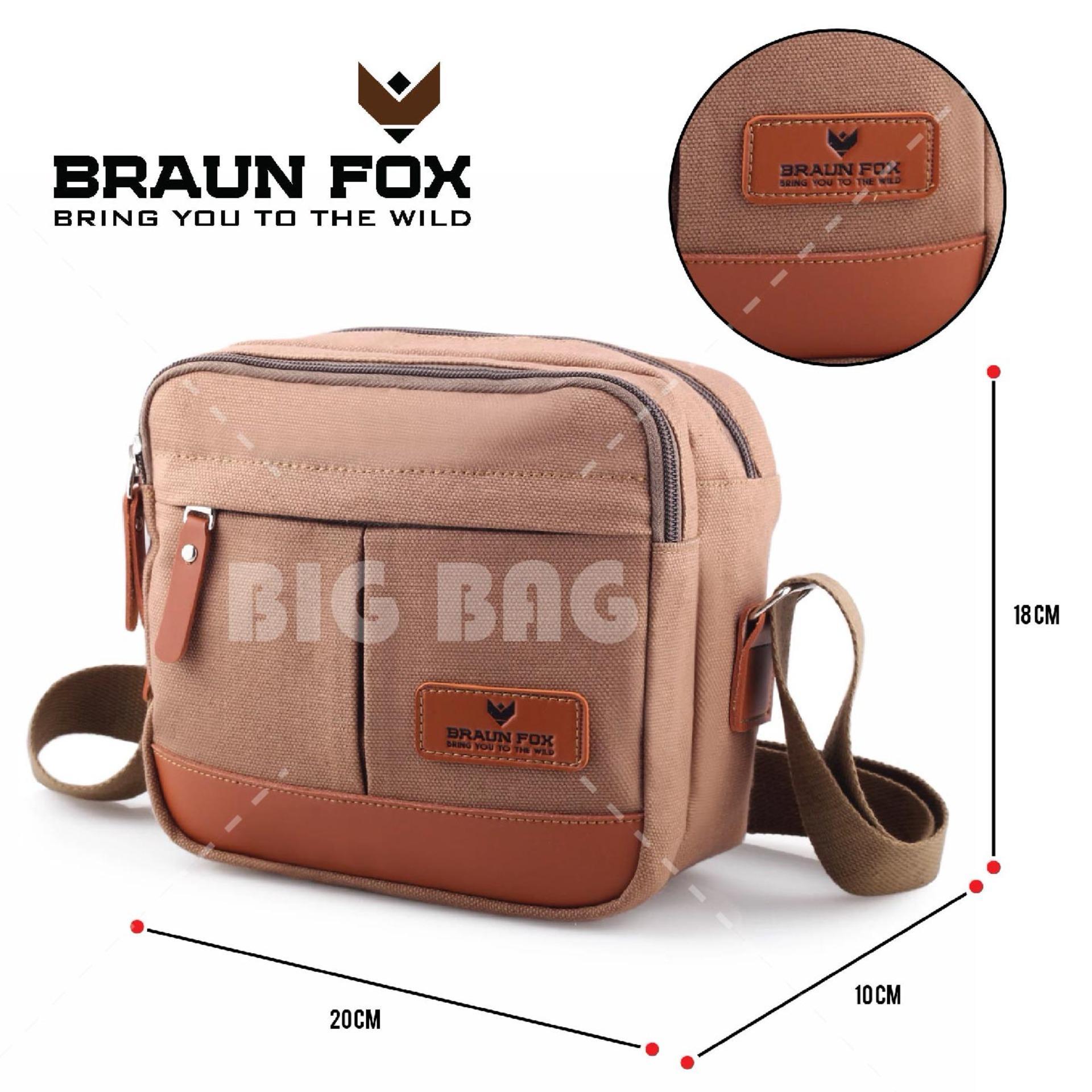 Tas Selempang Braun Fox Transponder Casual Vintage Men Classic Canvas Messenger Bags - Tas Sandang Pria