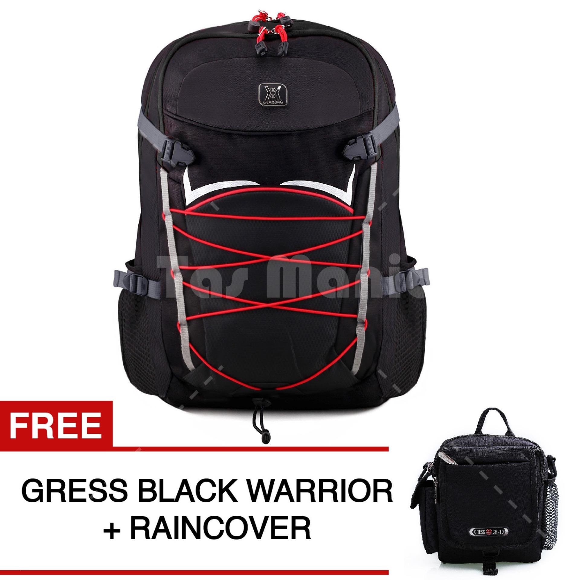 Gear Bag Andromeda Laptop Backpack - Black + Raincover + FREE Tas Selempang Gress - Black Warrior BW20