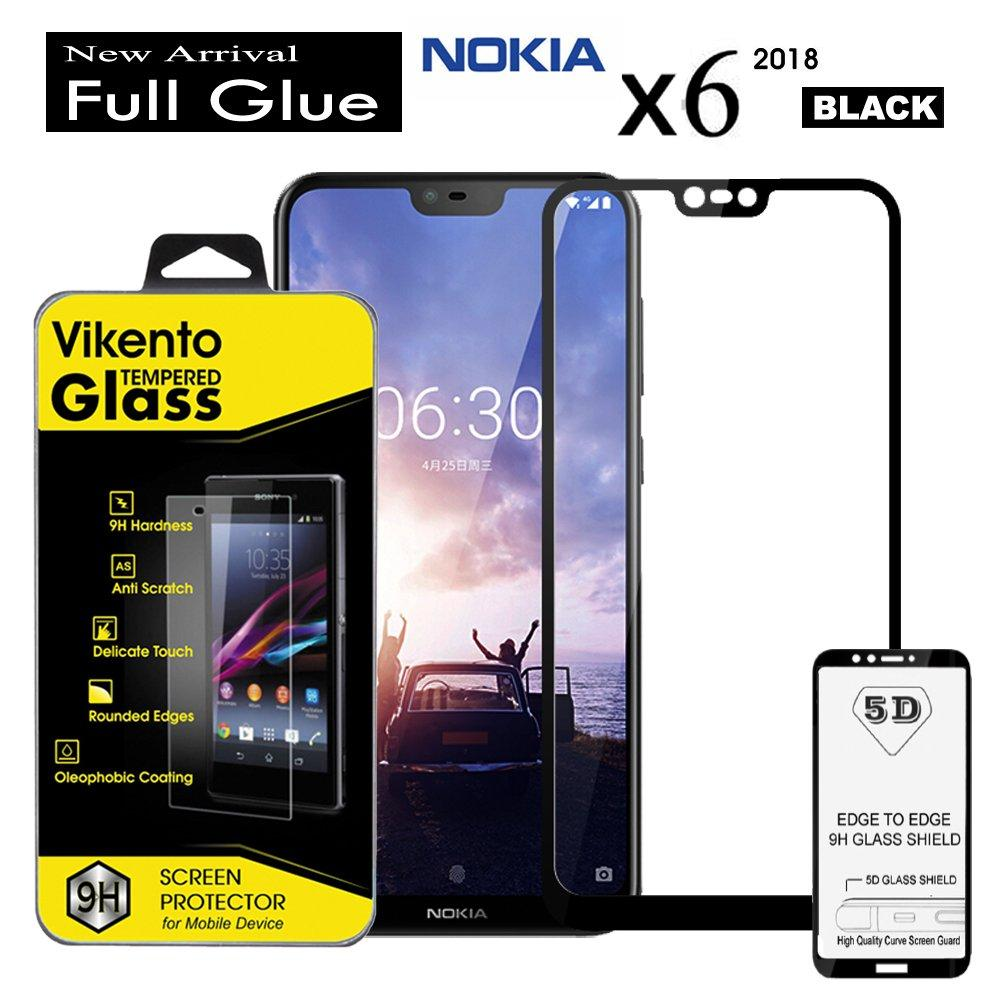 Full Coverage Screen Protector For Nokia  9H Anti Gores Kaca 5D Full Glue Tempered Glass Vikento For Nokia X6