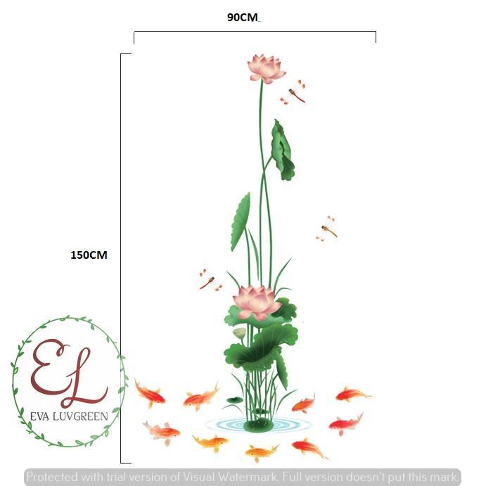 ... Eva Luvgreen Wallsticker Teratai 9 Ikan Koi Ukuran 60x90cm/ Stiker Dinding/ Stiker Tembok/