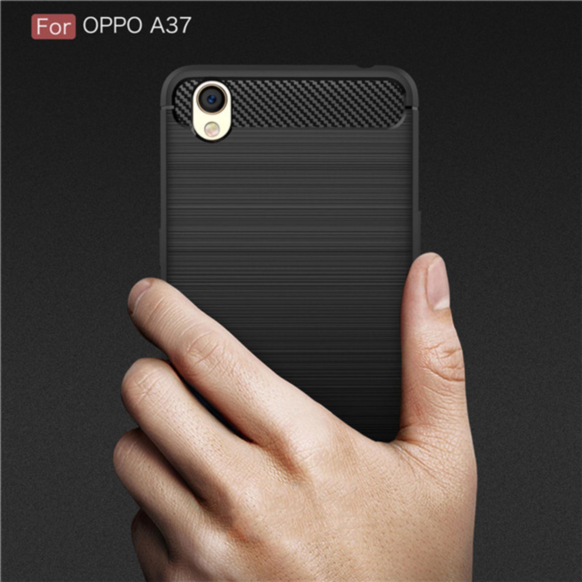 Detail Gambar Poluca Luxury Case For Oppo A37 / Neo 9 Carbon Brushed TPU Shoockproof - Black Terbaru