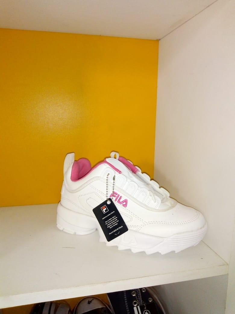 Sepatu FILA Disruptor 2 Premium Import Vietnam - Sepatu Sneakers Sport Wanita Dan prian- Sepatu Putih Pink/ Sepatu  casual/ Sepat Termurah - 2