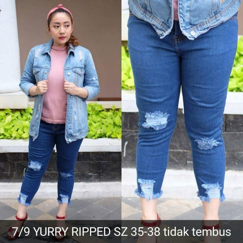 7/9 yurry ripped Promo TERMURAH!! Celana panjang jeans sobek wanita ripped jeans