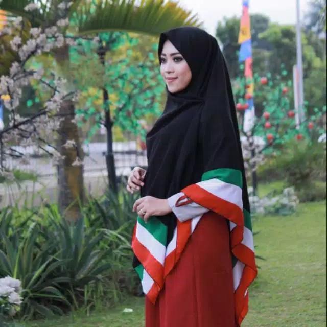 Jilbab Segiempat Khimar Kerudung Jumbo Besar Syari Hijab Palestina Wolfis Woolpeach Dua Sisi 2 Sisi Ukuran