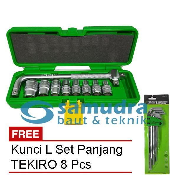 TEKIRO KUNCI SOK SOCK SET 10 PCS 6PT & TEKIRO KUNCI L SET LONG 8 PCS