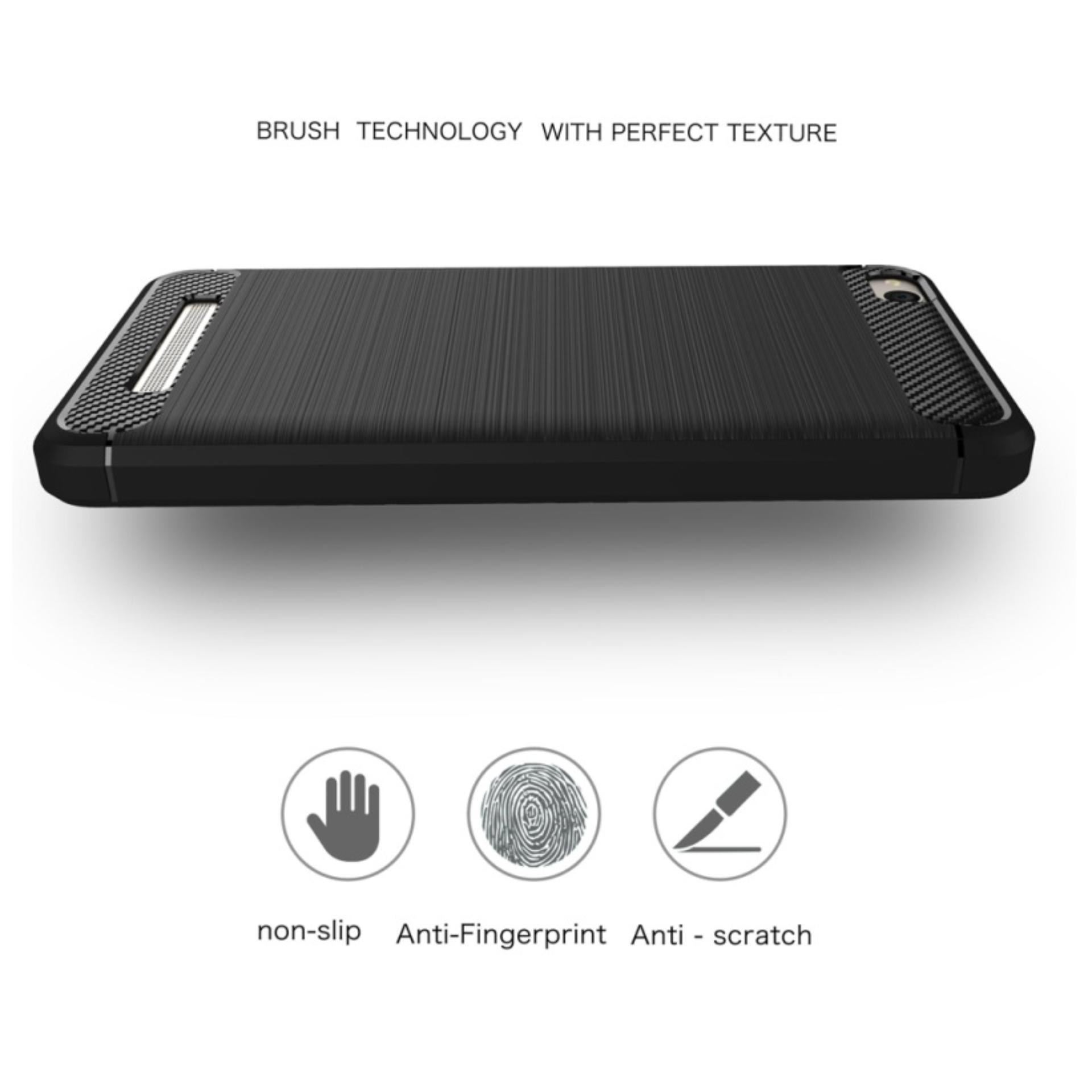 ... Case for Xiaomi Redmi 4A IPAKY Carbon Fiber Softcase Hybrid - Free Tempered Glass - 3 ...