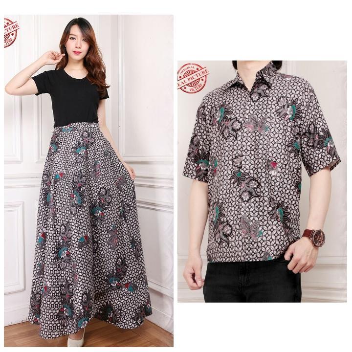 Miracle Couple Rok Payung Maxi Qeila dan Kemeja Batik Pria