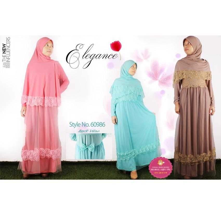 Oma Holley Fashion Novi Baju Muslim Maxi Dress Layer Renda Termasuk Hijab - Size M