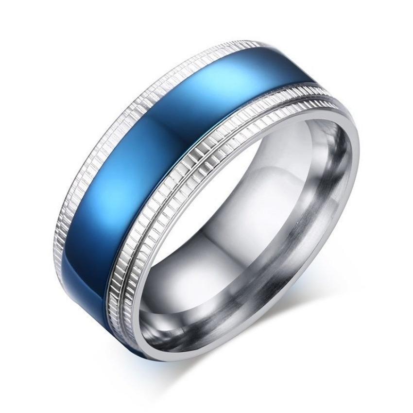 Harga Fashion Blue Pria Ring Stainless Steel Silver Disepuh Kawin Cincin Untuk Pria Ukuran 8 Sampai 11 Intl Dan Spesifikasinya