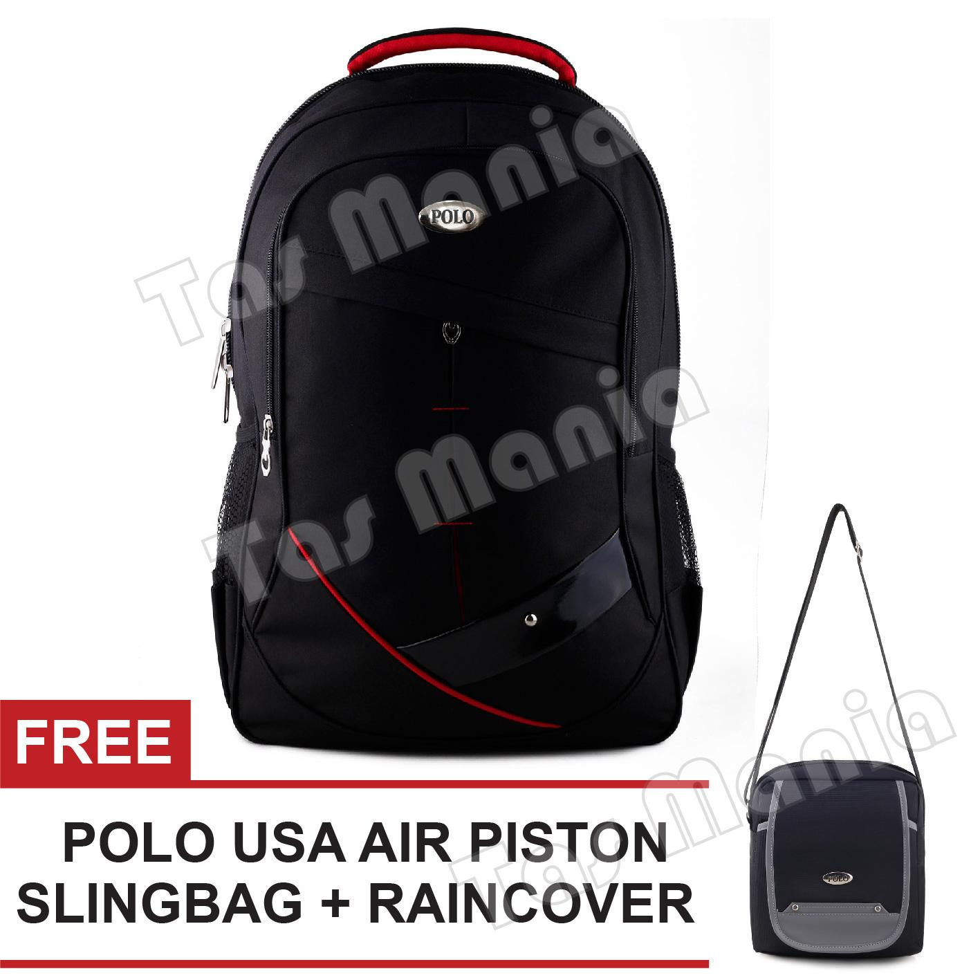 Tas Ransel Polo USA Simple Little America Tas Laptop Backpack - Black + Raincover + FREE
