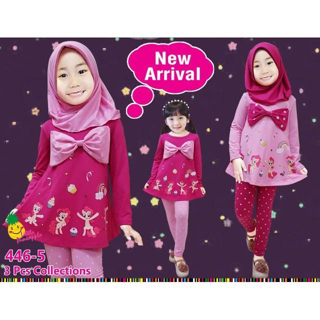 Promo Baju Muslim Anak Perempuan Little Pineapple LP Pony Pita Polkadot Pink Limited
