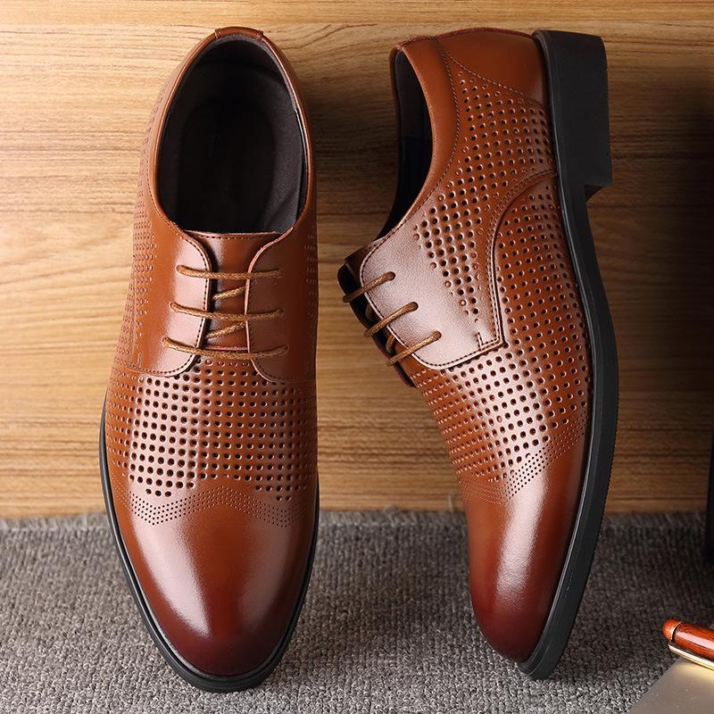Detail Gambar Sepatu Kulit Bisnis Kasual Pria Ujung Runcing Rok Sepatu Sepatu Gaun Sepatu Kulit Musim