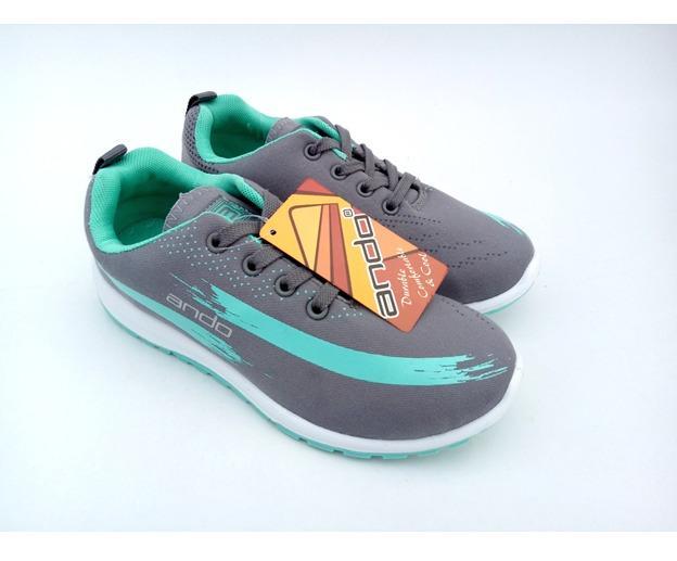 ANDO Lindsey Original Grey Tosca epatu Olahraga Lari Wanita Sepatu Sekolah Sepatu Ando
