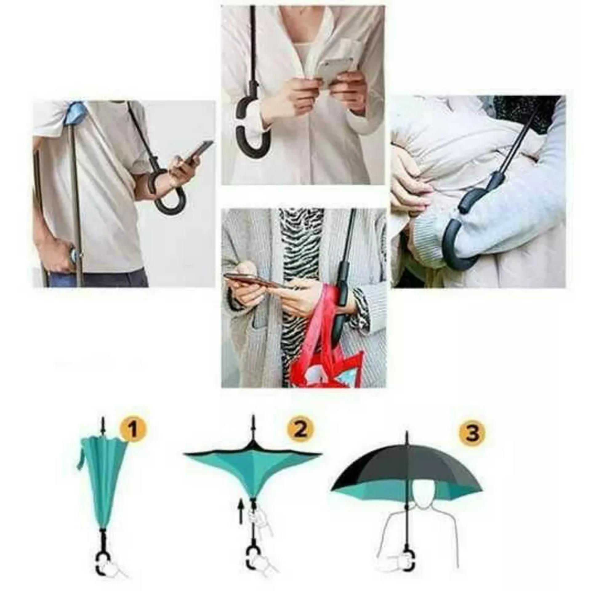 Payung Terbalik Kazbrella Payung Mobil Reverse Umbrella Gagang C - 4 .