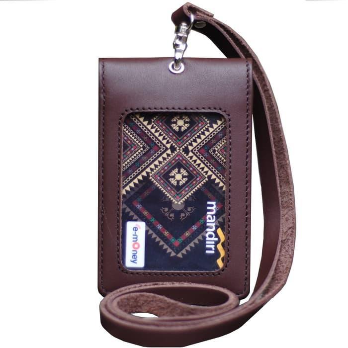 Murah Id Card Holder Double Flip Magnet Tali Kulit Coklat - 2