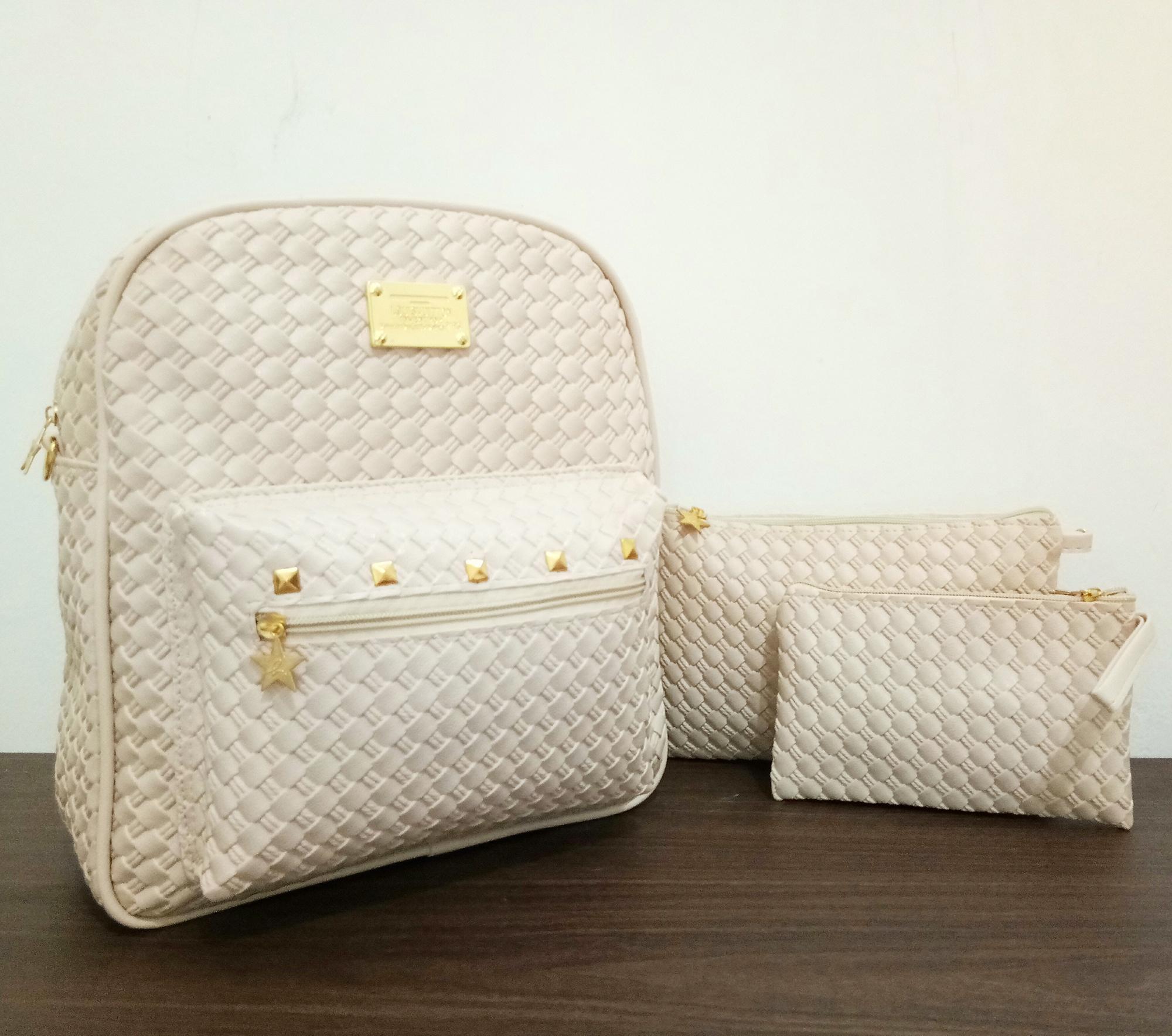 Athar Tas 3 in 1 Ransel Sling Bag Pouch Wanita Motif Anyam Tikar Syntetic