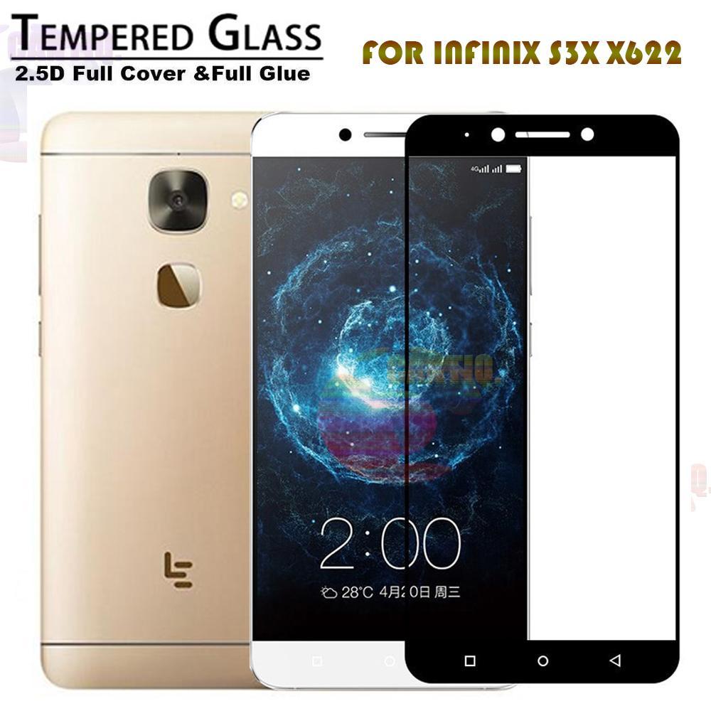 Tempered Glass Full Screen Black Infinix S3X X622 9H Screen Anti Gores Kaca / Screen Guard