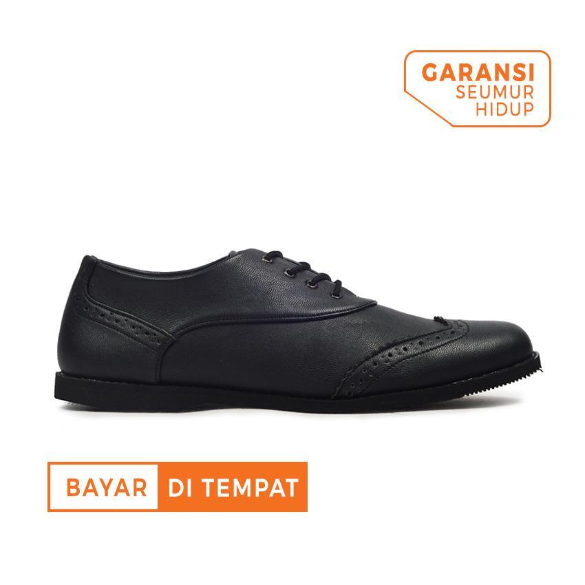 Sepatu Formal Kerja Kulit Pria Giant Flames Wingtip Black Jawa Barat Diskon 50