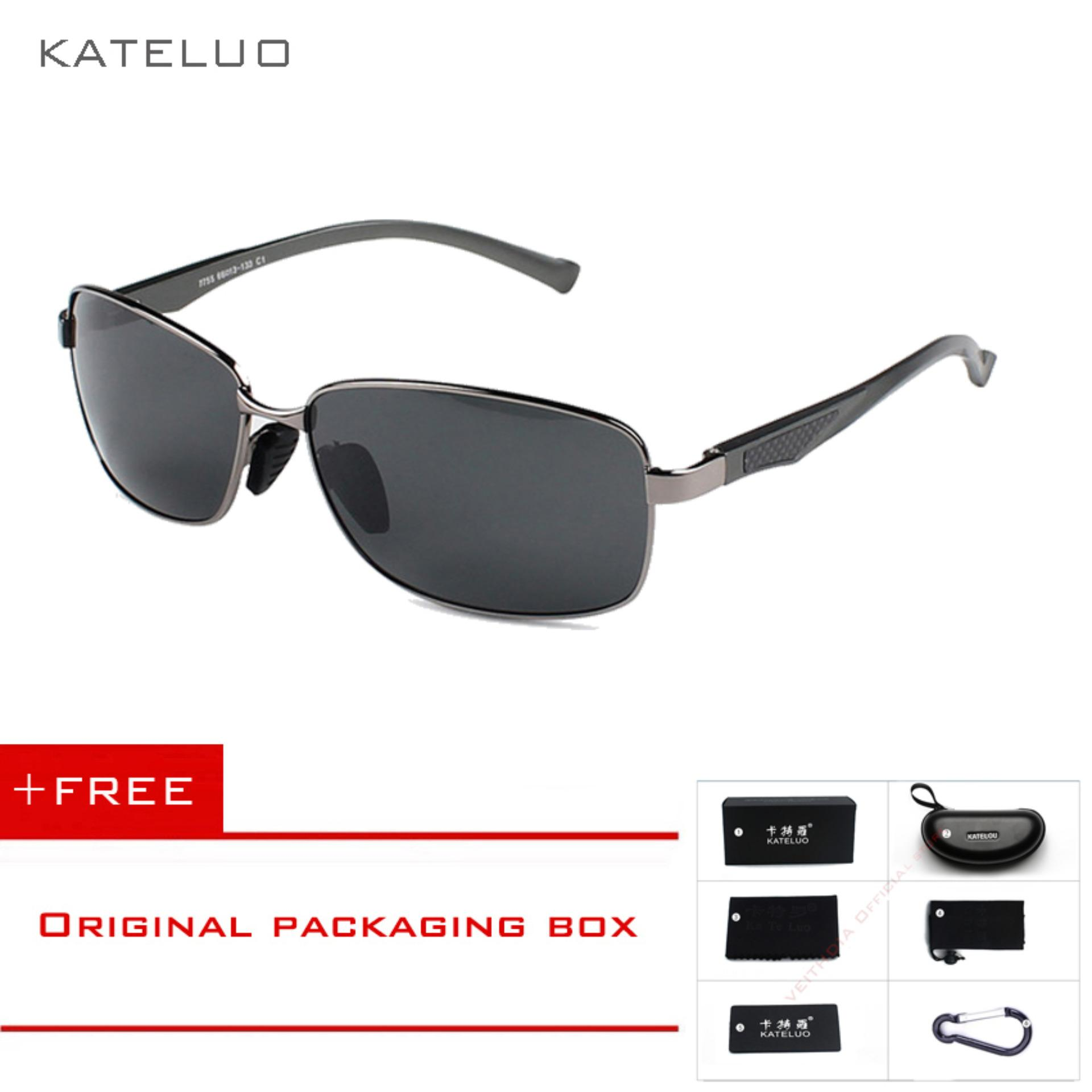 KATELUO Aluminium Magnesium Alloy Men Kacamata Terpolarisasi Lensa Driver Cermin Kacamata Pria Memancing Olahraga Luar Ruangan