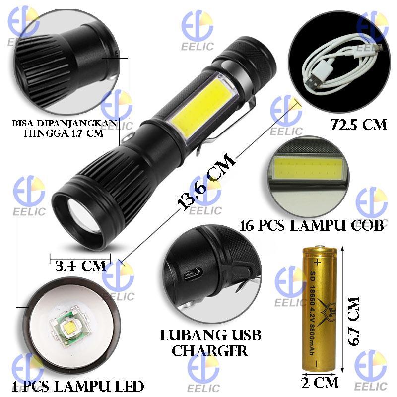 ... EELIC LAS-W545 HITAM LAMPU SENTER LED + COB EMERGENCY RECHARGEABLE FLASHLIGHT ELECTRIC TORCH MULTIFUNGSI ...