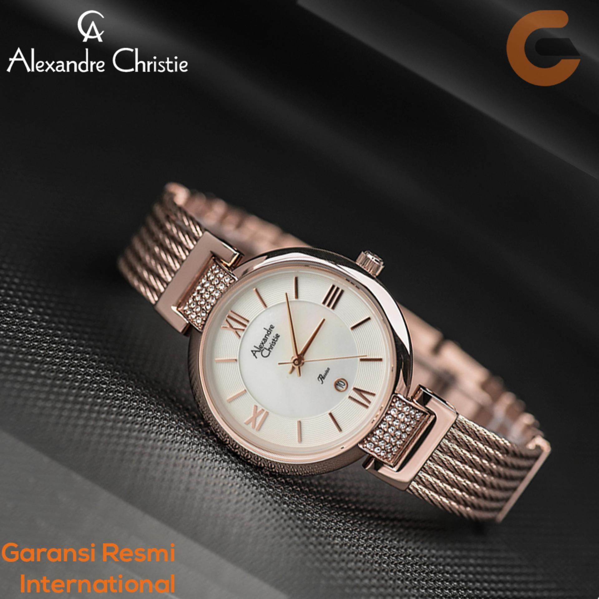 Alexandre Christie Jam Tangan Wanita Tali Stainless Steel Quartz Movement Swarovski Element AC2708 Promo