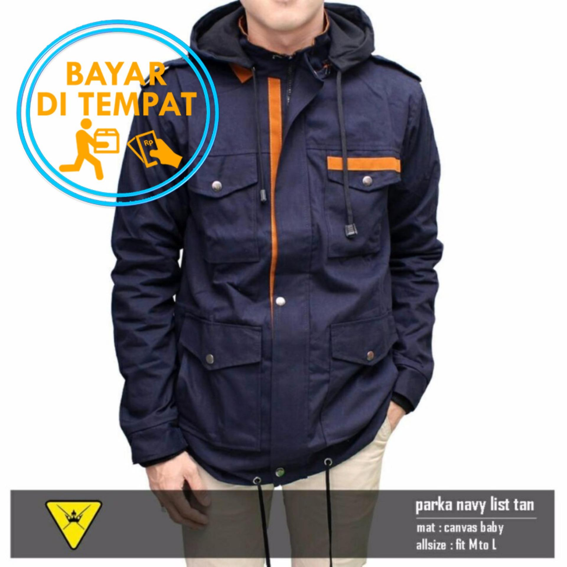 Model Jaket Murah Parka Pria Premium Navy List Orange Best Seller Terbaru