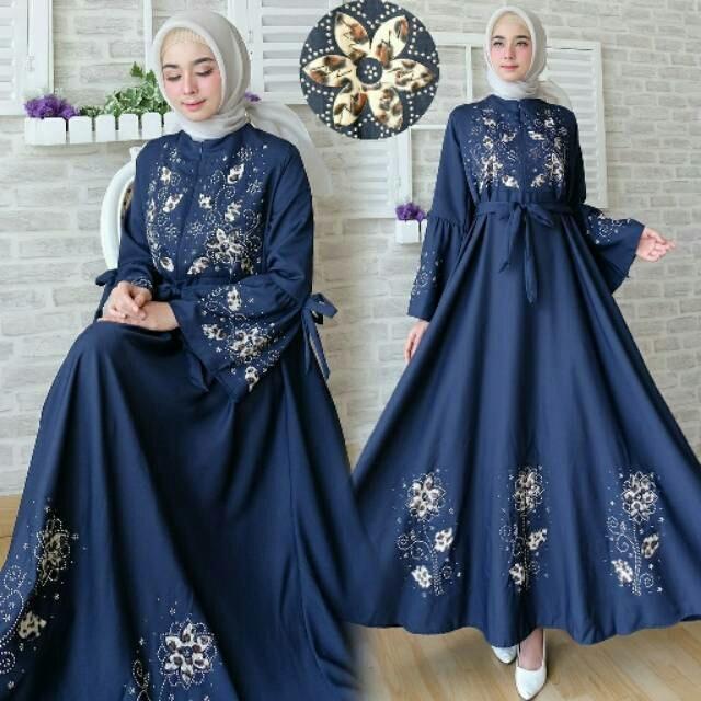 GAMIS BUSUI MURAH / FASHION MUSLIM / MAXI DRESS BUSUI MURAH AULIA WARNA NAVY ( TANPA