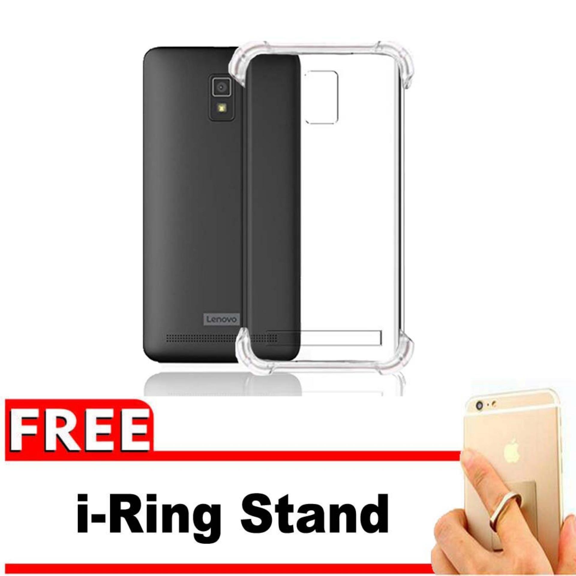 ShockCase for Lenovo A6600 / A6600+ Plus | Premium Softcase Jelly Anti Crack Shockproof - Gratis Free iRing Stand Phone Holder - Transparan