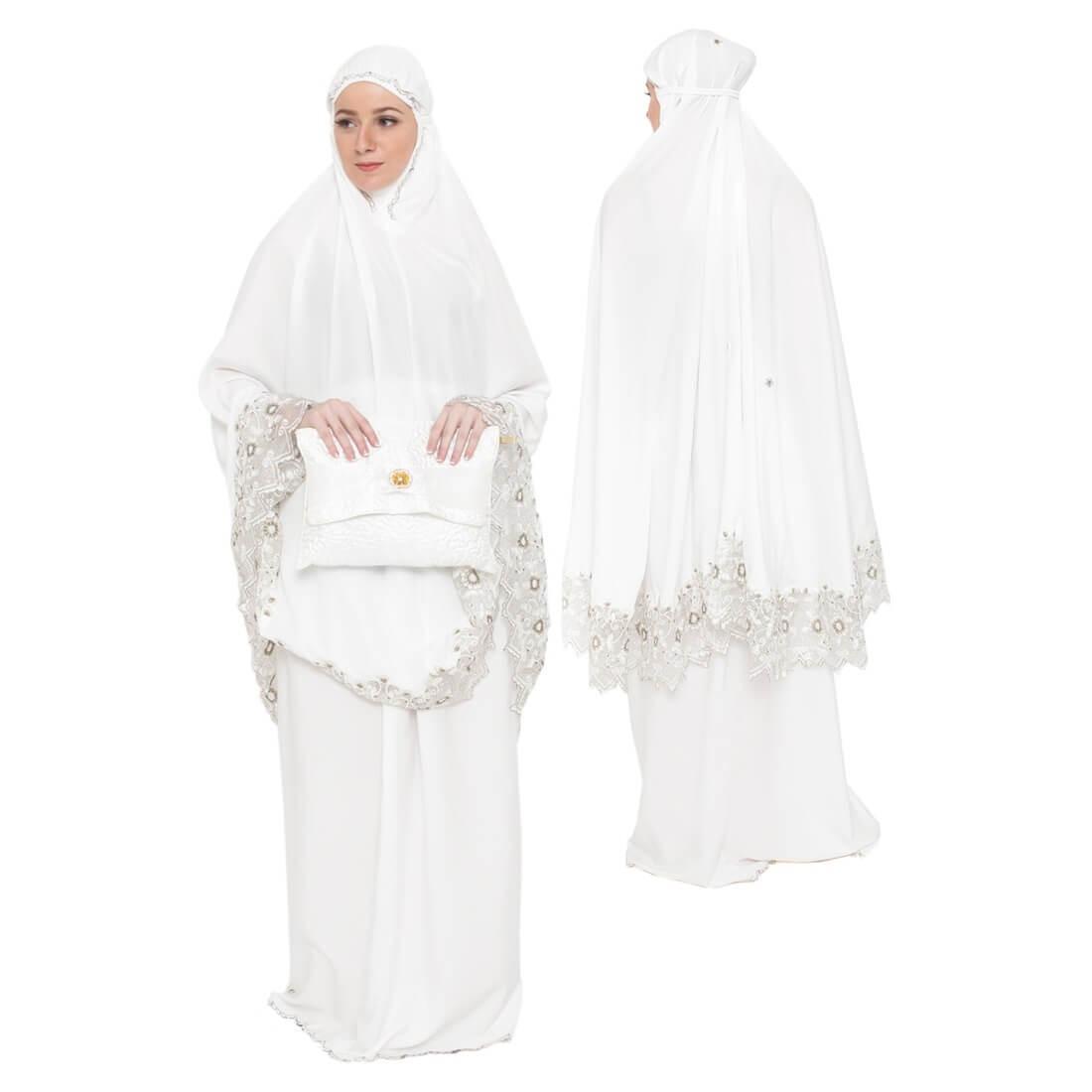 Mukena Cantik untuk solat wanita muslimah katun -putih