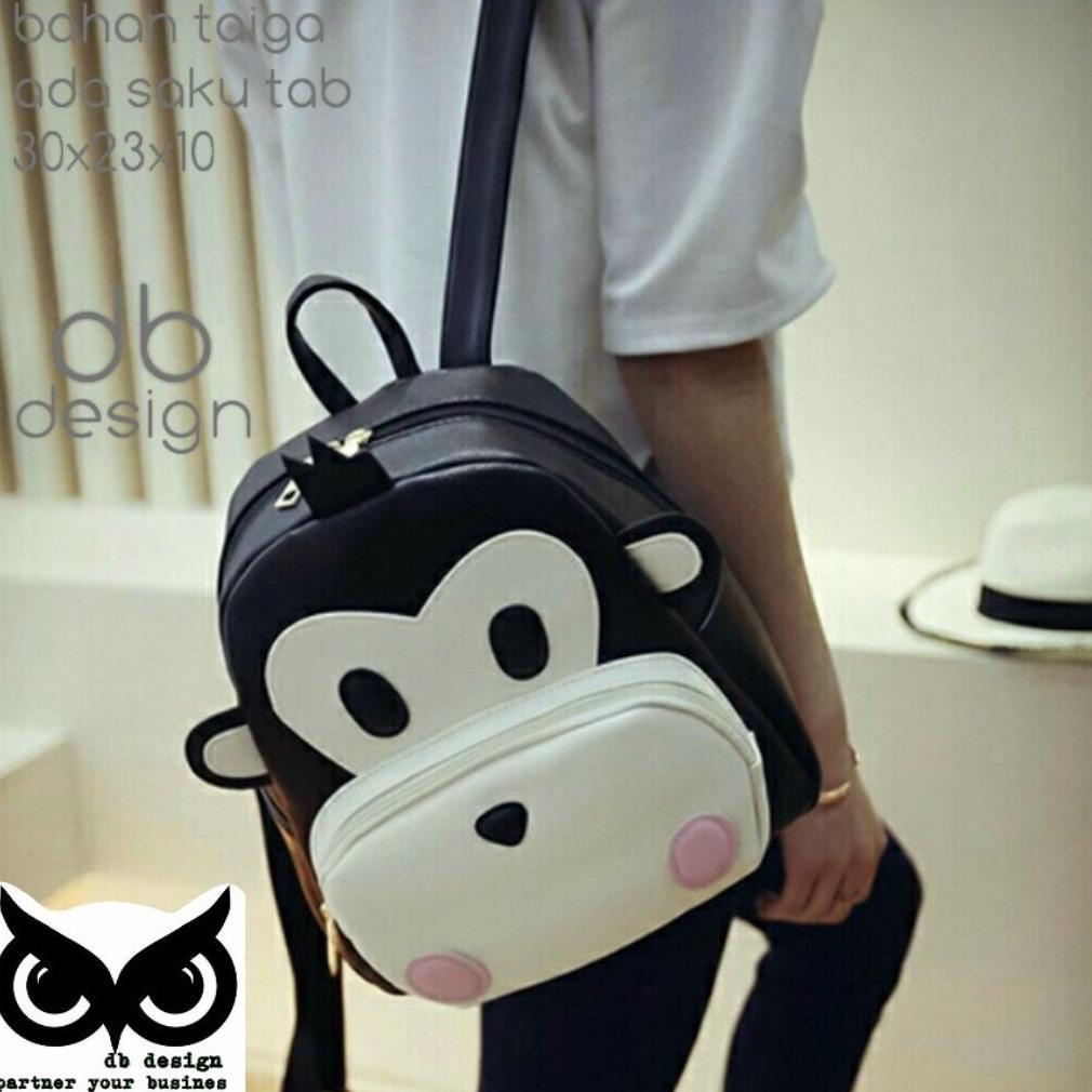Tas Ransel   Tas Wanita   Backpack Fashion Wanita  Tas Anak Sekolah Motif  Mongkey 17c9520bdb