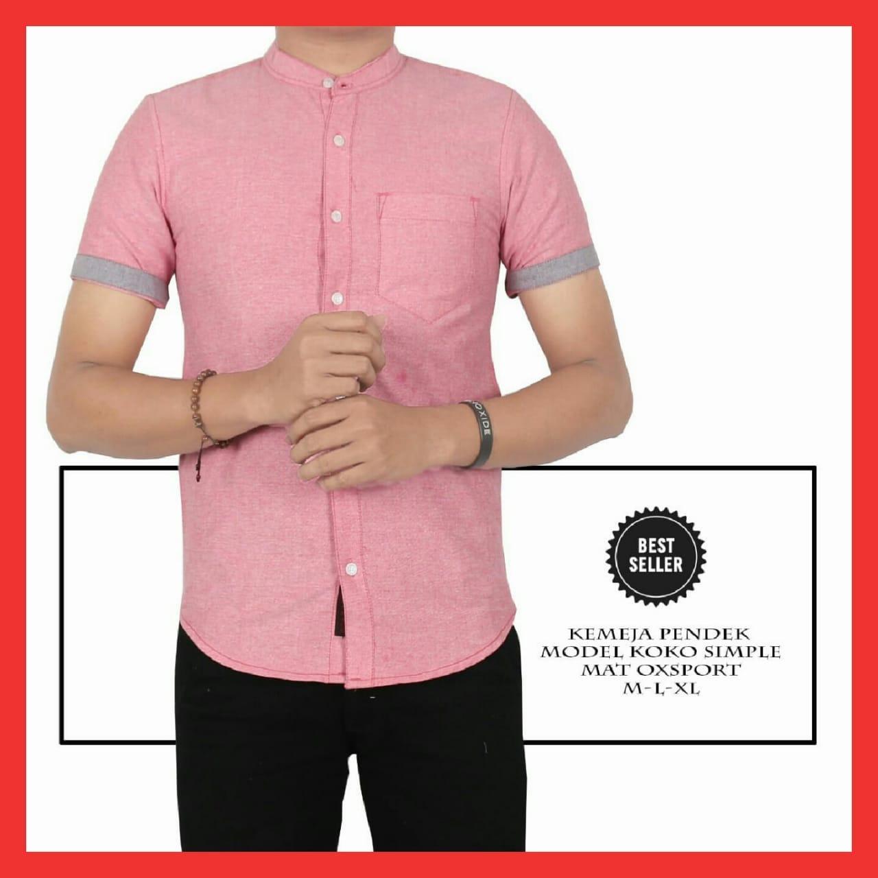 Fix - Baju Kemeja Pria/Kemeja Koko Lengan Pendek/Kemeja Model Koko Simple