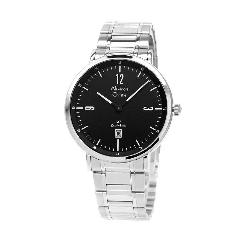 Beli Alexandre Christie Jam Tangan Pria Silver Hitam Stainless Steel 8499 Nyicil