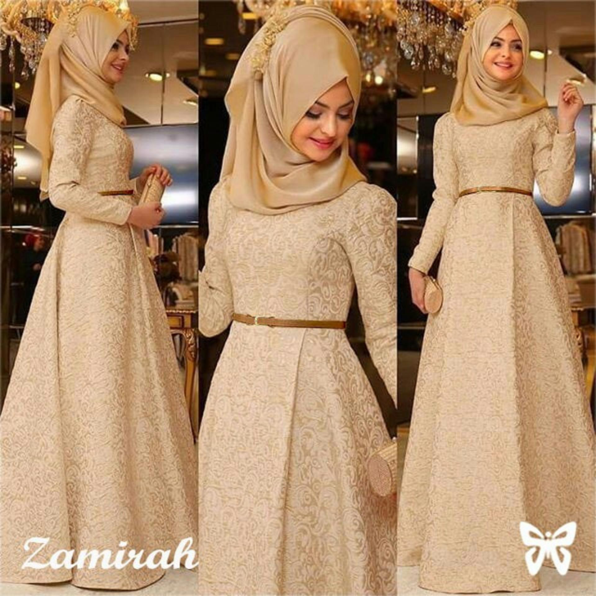 gamis   dress gamis muslim mirah / hijab muslim / muslim syari hijab syari / busana muslimah / kebaya modern lebaran (mirahza)  ss – mocca / gaun pesta lengan panjang