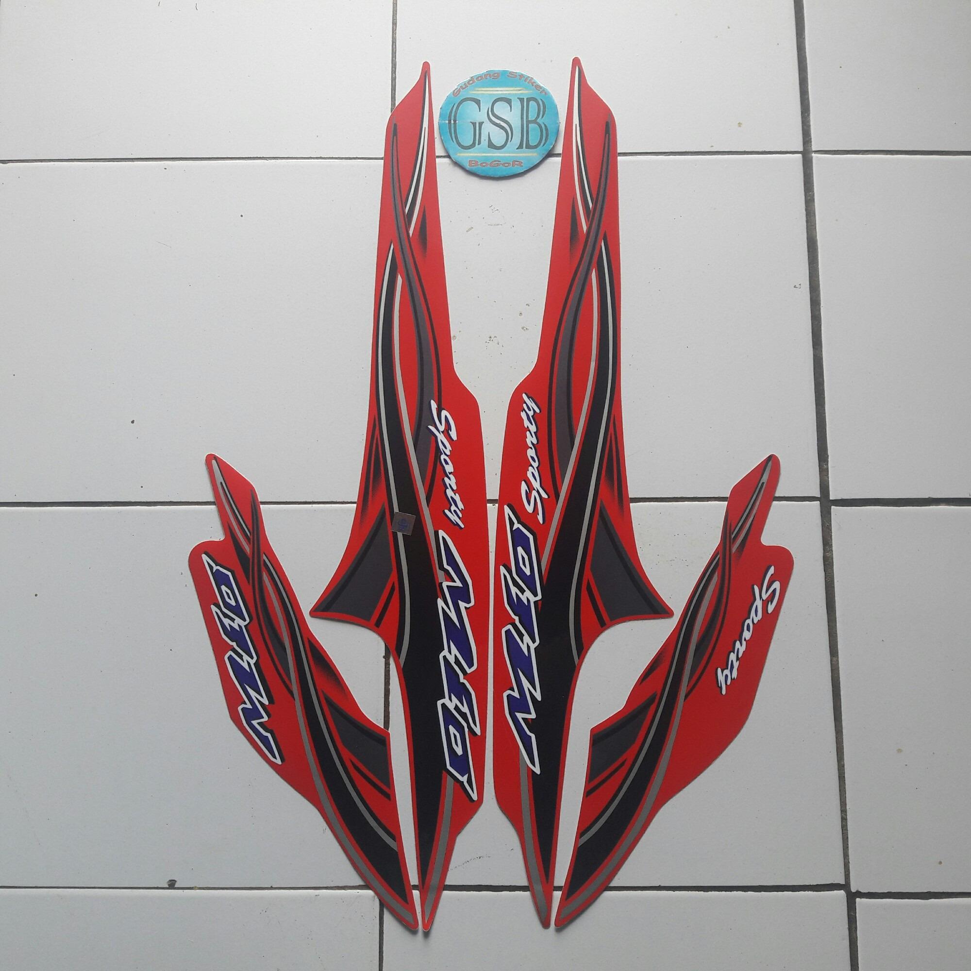 Stiker striping motor yamaha mio sporty 2006 merah