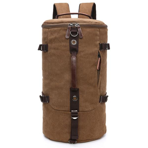 Tas Canvas Ransel Backpack Punggung Selempang 2 in 1 Bulat Barrel Mountaineering