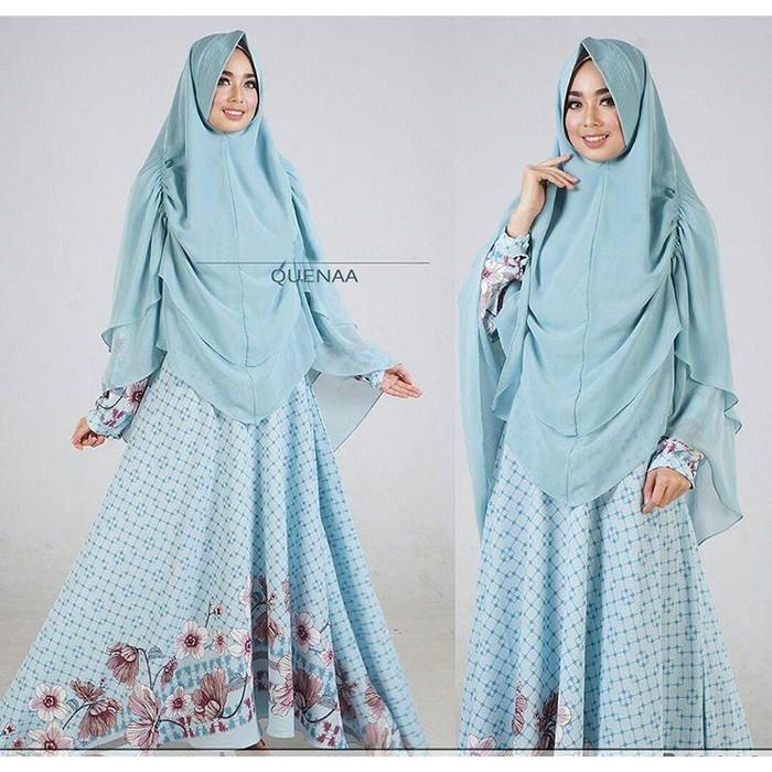 Promo Queena Soft Blue GZ  Gamis Wanita Bubblepop Biru Muda Limited